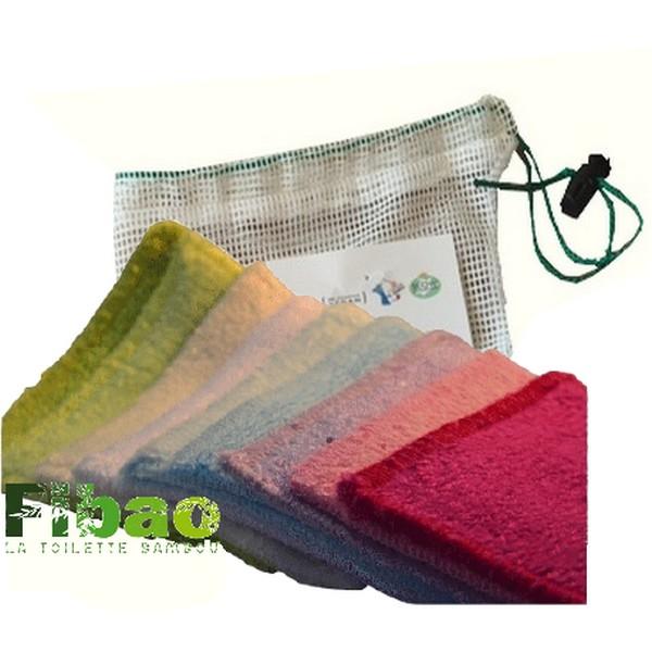 7 carrés démaquillants lavables en bambou + leur filet de lavage