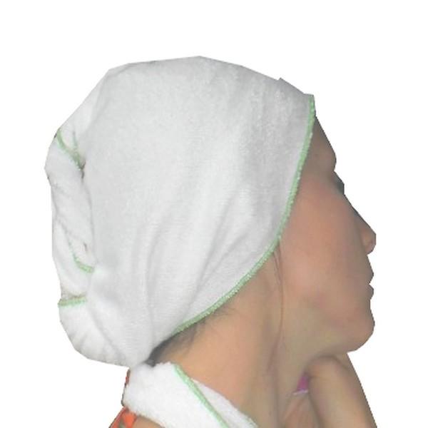 turban seche cheveux Fibao - Blanc