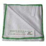 serviette visage bambou blanc, liseré vert Fibao