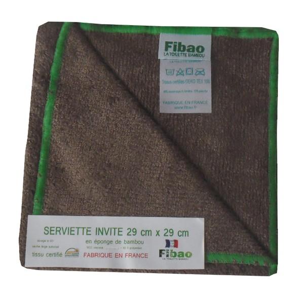 serviette visage bambou chocolat, lisere vert fibao