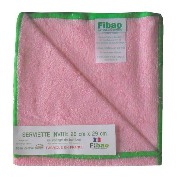 serviette visage bambou rose, liseré vert Fibao